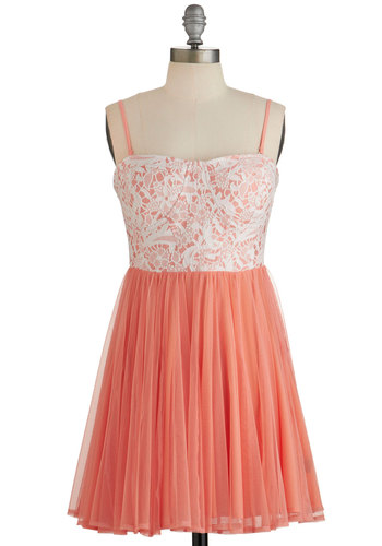 Treasured Twirl Dress - Orange, White, Lace, Party, A-line, Sleeveless, Summer, Woven, Better, Sweetheart, Tulle, Exposed zipper, Short