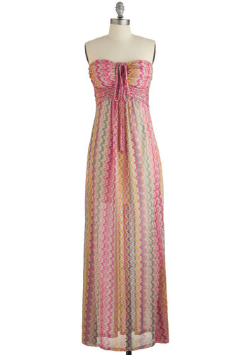 Spa Rendezvous Dress - Multi, Chevron, Braided, Casual, Beach/Resort, Maxi, Summer, Woven, Better, Strapless, Long