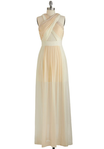 Name of the Dame Dress in Vanilla Swirl - Variation, Cream, Tan / Cream, Cutout, Pleats, Special Occasion, Maxi, Sleeveless, Summer, Woven, Better, Halter, Long, Prom, Homecoming