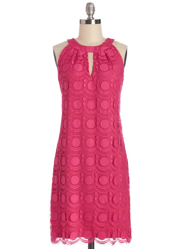 Can't Wait to Celebrate Dress - Pink, Solid, Cutout, Lace, Scallops, Daytime Party, Shift, Sleeveless, Better, Mid-length, Knit, Lace, Party, Valentine's