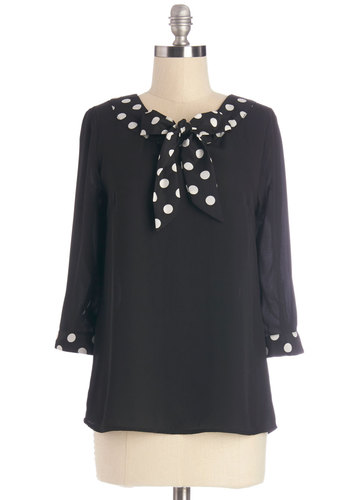 Work and Wander Top by Myrtlewood - Mid-length, Chiffon, Woven, Black, Polka Dots, Tie Neck, Work, 3/4 Sleeve, Exclusives, Black, 3/4 Sleeve, White, Private Label