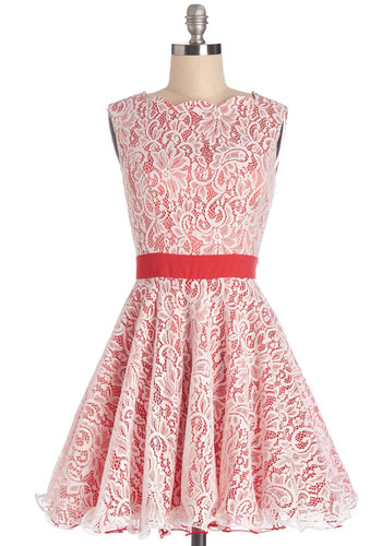 Elaborate Effort Dress - White, Lace, Special Occasion, Fit & Flare, Sleeveless, Summer, Woven, Better, Short, Lace, Red, Ruffles