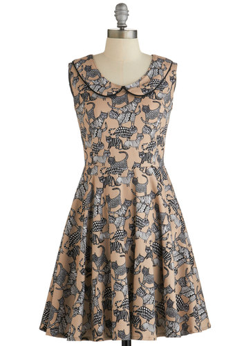 How Does It Feline? Dress - Multi, Print with Animals, Cutout, Peter Pan Collar, Casual, Cats, A-line, Sleeveless, Woven, Better, Collared, Quirky, Full-Size Run, Mid-length