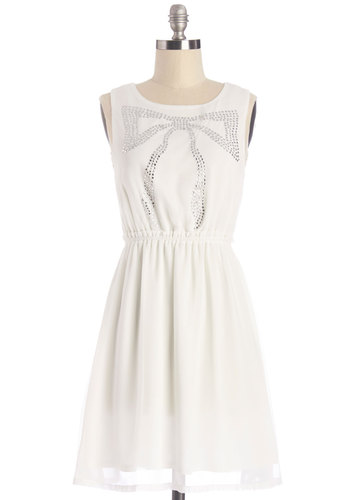 Superb Sparkle Dress - White, Silver, Rhinestones, Party, A-line, Sleeveless, Summer, Woven, Good, Scoop, Mid-length, Darling