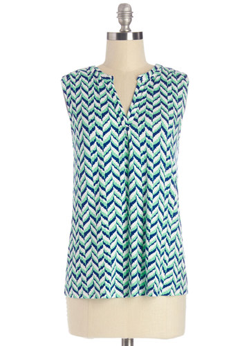 Ready, Chilling, and Able Top - Mid-length, Jersey, Knit, Blue, White, Chevron, Work, Sleeveless, Spring, Blue, Sleeveless, Multi, Mint, V Neck