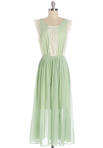 Epitome of Extraordinary Dress - Mint, Lace, Pearls, Pleats, Wedding, Daytime Party, Pastel, Maxi, Sleeveless, Better, Scoop, Long, Chiffon, Woven, Lace, Bridesmaid