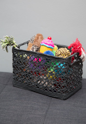 Contain Your Creativity Basket - Grey, Boho, Good, Solid, Crochet, Dorm Decor