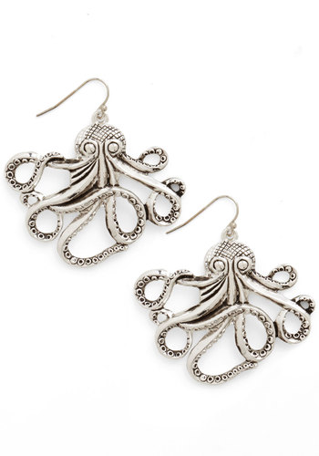 My Pet Octopus Earrings - Solid, Casual, Nautical, Silver, Critters, Quirky