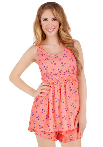 Darling Drifting Pajamas - Pink, Floral, Casual, Neon, Tank top (2 thick straps), Scoop