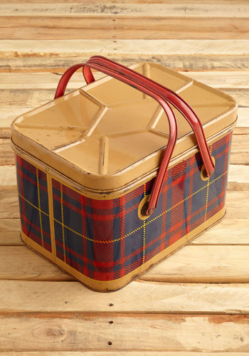 Vintage Clad in Plaid Picnic Basket