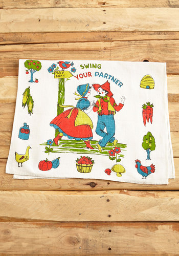 Vintage Spring and Dance Tea Towel