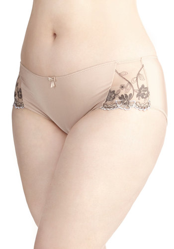 Journal Reflections Undies in Plus Size - Knit, Tan, Solid, Bows, Embroidery, Boudoir