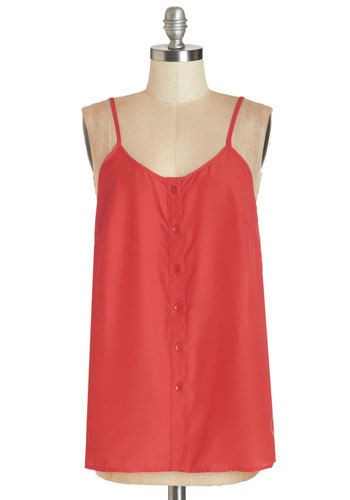 Cookout for the Day Top in Cherry - Mid-length, Woven, Red, Solid, Buttons, Spring, Variation, Red, Sleeveless, Casual, Spaghetti Straps, Summer, Good