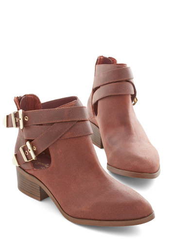 Scoundrel Bootie in Auburn by Seychelles - Solid, Buckles, Boho, Better, Variation, Brown, Cutout, Low, Leather