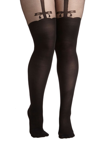 Elegance is Bliss Tights in Plus Size - Sheer, Knit, Black, Solid, Bows
