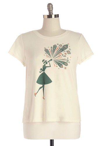 Foresee the Sights Top in Plus Size - Cotton, Knit, Cream, Novelty Print, Casual, Short Sleeves, Crew