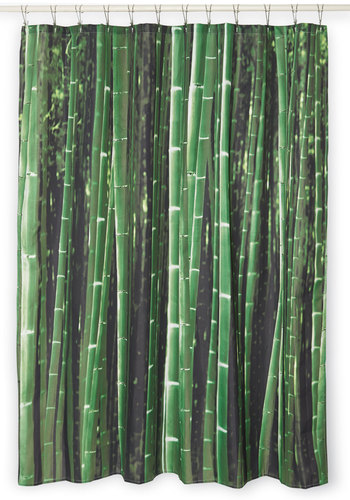 Beyond the Grove Shower Curtain in Bamboo by Kikkerland - Woven, Green, Safari, Good, Novelty Print, Variation