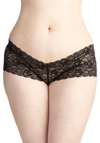 Time in Lace Undies in Noir - Plus Size - Sheer, Knit, Lace, Black, Solid, Lace, Boudoir, Variation