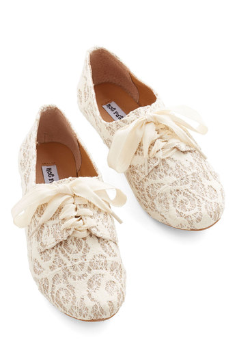 Glitter Miss Flat - Flat, Woven, Lace, Cream, Gold, Lace, Glitter, Daytime Party, Lace Up