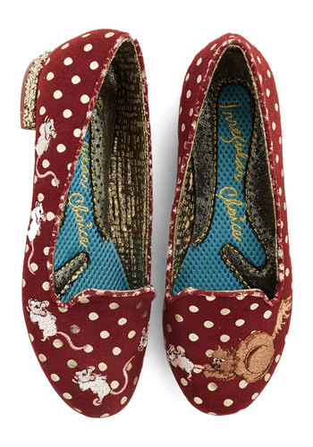 Playing Cat and Mouse Flat by Irregular Choice - Low, Woven, Red, Polka Dots, Print with Animals, Embroidery, Work, Casual, Quirky, Chunky heel