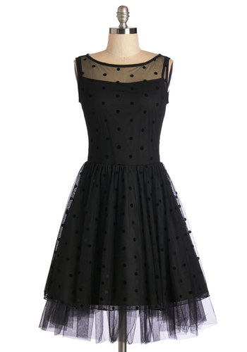 Before the Opera Dress - Black, Prom, Party, Homecoming, LBD, Mid-length, Woven, Tulle, Polka Dots, Special Occasion, Vintage Inspired, 50s, 60s, Fit & Flare, Sleeveless, Boat, Cocktail