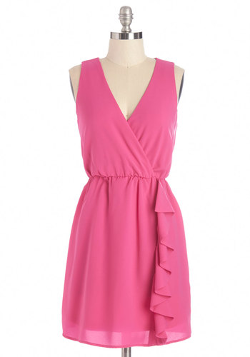 Chosen Fuchsia Dress - Pink, Solid, Ruffles, Party, A-line, Sleeveless, Summer, Woven, Good, V Neck, Short