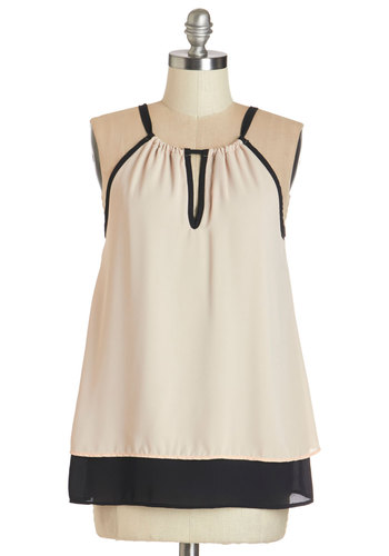 Poised Presentation Top - Mid-length, Woven, Tan, Solid, Work, Sleeveless, Spring, Summer, Exclusives, White, Sleeveless, Black
