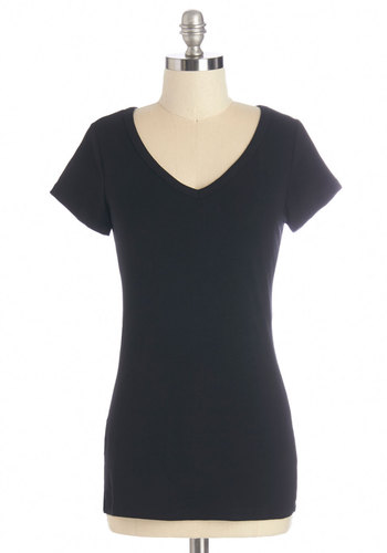 Style Variety Top - Mid-length, Cotton, Knit, Black, Solid, Casual, Short Sleeves, Basic, V Neck, Black, Short Sleeve, Minimal