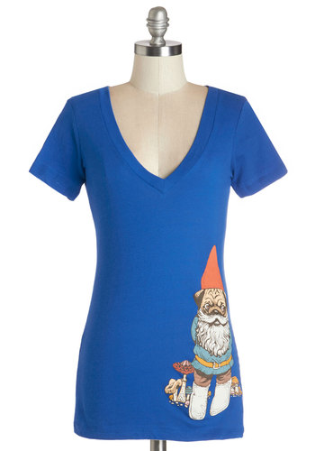 Game of Gnomes Tee - Cotton, Knit, Blue, Print with Animals, Novelty Print, Casual, Short Sleeves, Summer, V Neck, Blue, Short Sleeve, Exclusives, Quirky, Mid-length, Dog, Holiday