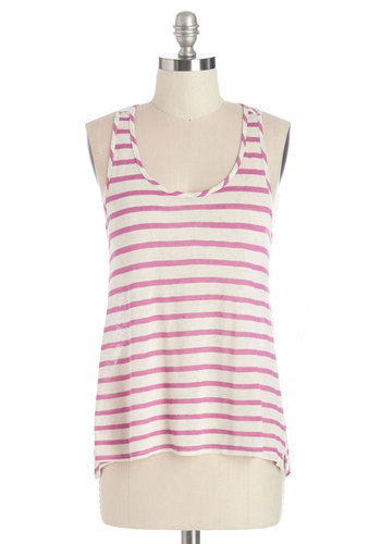 Painting on the Porch Top - Mid-length, Knit, Pink, Stripes, Casual, Sleeveless, Spring, Summer, Sleeveless, White, Scoop