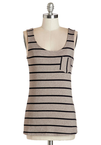 Sunset Hike Top in Taupe - Mid-length, Cotton, Knit, Tan, Black, Stripes, Casual, Tank top (2 thick straps), Summer, Variation, Scoop, Grey, Sleeveless, Pockets, Basic