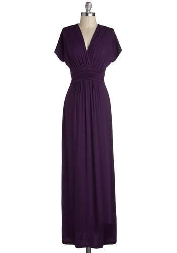 Tout Sweep Dress - Purple, Solid, Belted, Casual, Maxi, Cap Sleeves, V Neck, Ruching, Basic, Fall, Gifts Sale, Maternity, Long