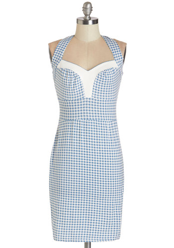 Just Like That Dress by Blutsgeschwister - White, Houndstooth, Backless, Daytime Party, Pinup, Shift, Halter, Better, International Designer, Sweetheart, Knit, Blue, Summer, Short