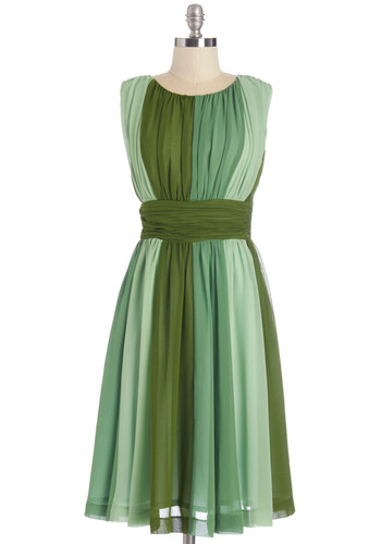 Evolution of Elegance Dress in Green - Long, Chiffon, Woven, Green, Stripes, Ruching, Party, A-line, Sleeveless, Better, Scoop, Wedding, Bridesmaid, Exclusives, Variation, Top Rated, Full-Size Run, Homecoming