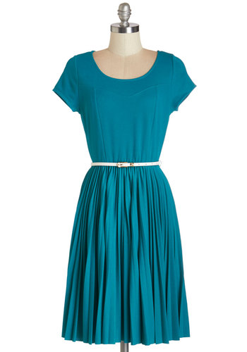 Find Your Sway Dress - Blue, Solid, Pleats, Belted, Casual, A-line, Cap Sleeves, Woven, Good, Scoop, Mid-length