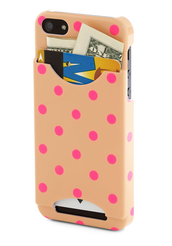 Handy Dandy iPhone 5/5S Case - Tan, Pink, Polka Dots, Casual, Travel