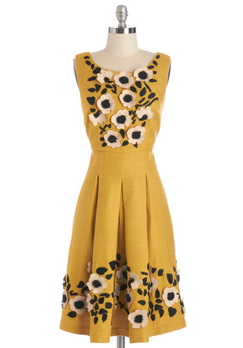 Tracy Reese Exquisite Elation Dress by Tracy Reese - Yellow, Black, Floral, Beads, Embroidery, Flower, Pleats, Daytime Party, A-line, Sleeveless, Best, Scoop, Long, Woven, Mixed Media