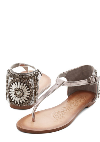 Cruise Stop Sandal - Leather, Silver, Beads, Casual, Beach/Resort, Summer