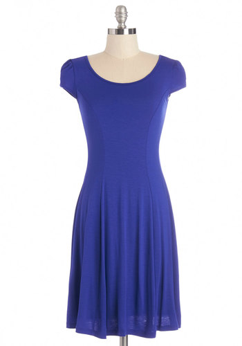 Simply Sapphire Dress - Blue, Solid, Casual, Americana, A-line, Cap Sleeves, Summer, Knit, Good, Scoop, Minimal, Mid-length