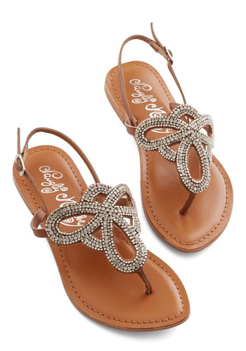 Queen of Your Sand Castle Sandal - Flat, Brown, Silver, Beads, Casual, Daytime Party, Summer, Faux Leather