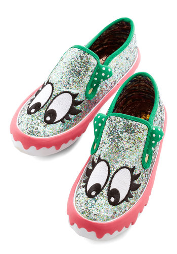 Nothin' but Personality Flat by Irregular Choice - Multi, Print with Animals, Glitter, Casual, Statement, Critters, Flat, Mixed Media, Exclusives, Quirky