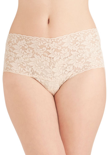 Hanky Panky Mellow Mornings Thong in Beige by Hanky Panky - Cream, Lace, Vintage Inspired, Boudoir, High Waist, Lace, Knit, Variation