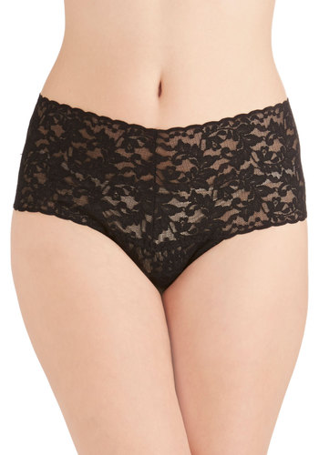 Hanky Panky Mellow Mornings Thong in Black by Hanky Panky - Black, Lace, Vintage Inspired, Boudoir, High Waist, Lace, Variation