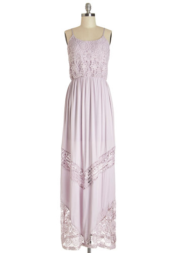 The Sweetest Day Dress - Lavender, Solid, Crochet, Lace, Daytime Party, Maxi, Summer, Woven, Better, Scoop, Long, Spaghetti Straps
