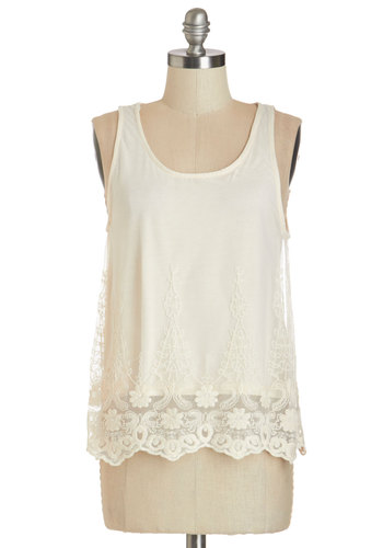 Happy to Greet You Top - Mid-length, Knit, Lace, Cream, Daytime Party, Sleeveless, Spring, Summer, White, Sleeveless, Embroidery, Boho, Festival, Scoop
