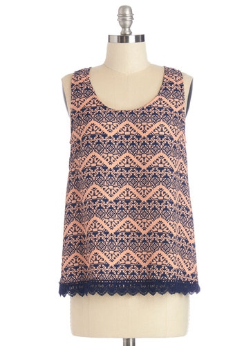 A Different Direction Top - Mid-length, Woven, Blue, Print, Sleeveless, Summer, Orange, Sleeveless, Coral, Trim, Casual, Scoop