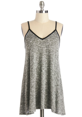 Sprawled in the Sun Tunic - Long, Knit, Grey, Black, Trim, Casual, Spaghetti Straps
