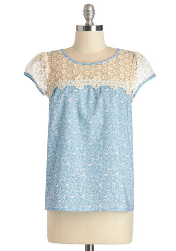 Lots to Flock About Top - Mid-length, Cotton, Woven, Blue, Tan / Cream, Floral, Print with Animals, Crochet, Darling, Short Sleeves, Spring, Blue, Short Sleeve, Casual, Bird, Woodland Creature