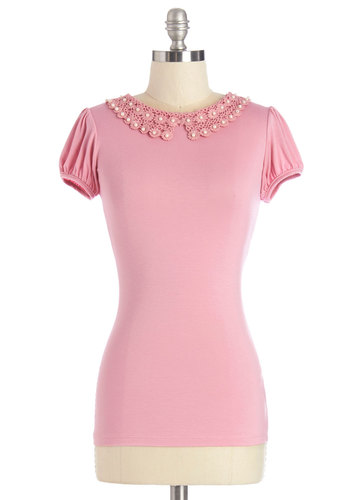 Precious Cue Top - Mid-length, Jersey, Knit, Mixed Media, Pink, Solid, Crochet, Work, Darling, Short Sleeves, Pink, Short Sleeve, Lace, Pearls