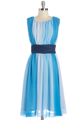 Evolution of Elegance Dress in Blue - Long, Chiffon, Woven, Blue, Stripes, Party, A-line, Sleeveless, Better, Scoop, Wedding, Bridesmaid, Exclusives, Variation, Full-Size Run, Homecoming